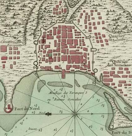 خريطة مدينة المخا - جاك نيكولاس بيلين 1776