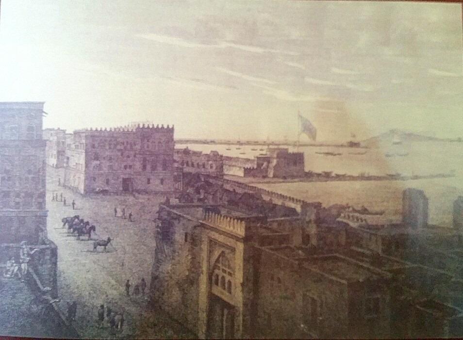 """منظر لميناء المخا, ويظهر على يسار اللوحة قصر الحاكم وعدد من الخيول والجنود. جورج أنسلي"""" 1804"""