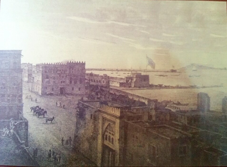 View of the port, the governor's mansion to the left along with horses and soldiers  (George Ansley, 1804).