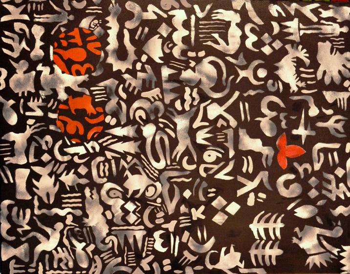 creatures, mixed media on canvas, 2013.Photo courtesy of Amna al-Nasiri