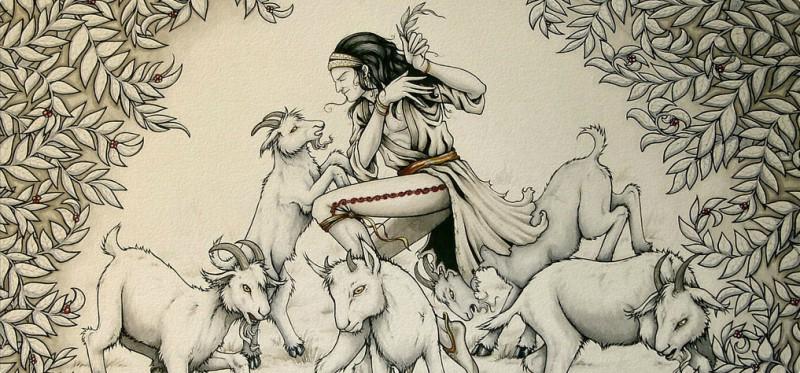 الراعي كالدي واغنامه - عمل فني يعود الى القرن الثامن عشر - اسم الفنان: غير معروف