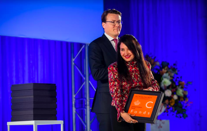 HRH Prince Constantijn of the Netherlands presents the Principal Prince Claus Award to Khadija Al-Salami, Amsterdam, December 2017