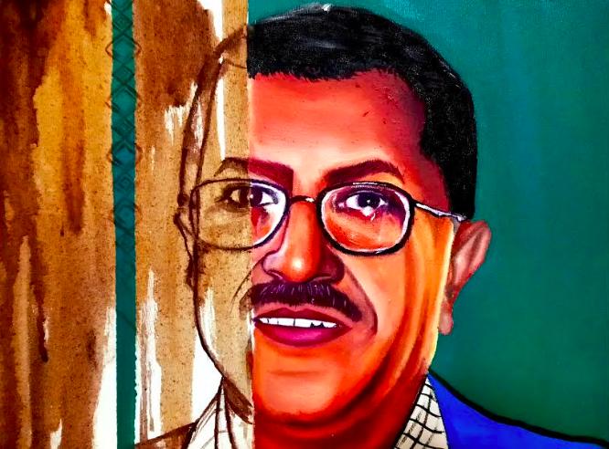 هشام علي بن علي في التسعينات -العمل الفني بإذن من بسمة راوي