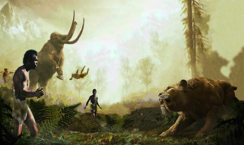 The stone age Yemeni man in a confrontation with the leopard and the giant elephant with the straight cane. Fictional image courtesy of Shihab al-Ahdal
