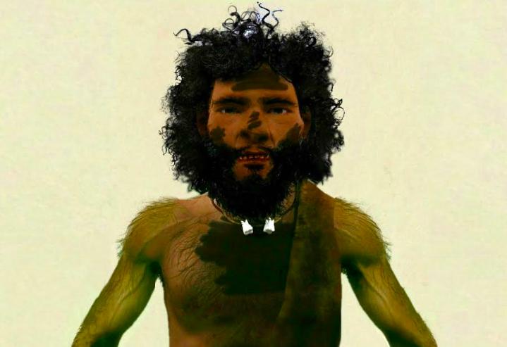 صورة تخيلية لإنسان العصر الحجري القديم في اليمن - العمل بإذن من شهاب الاهدل ومهند الشيخ