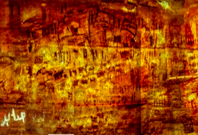 Part of the grand paintings scattered in the Naveh cliff, al-Thale'a. Image Courtesy of Fr. Braemer