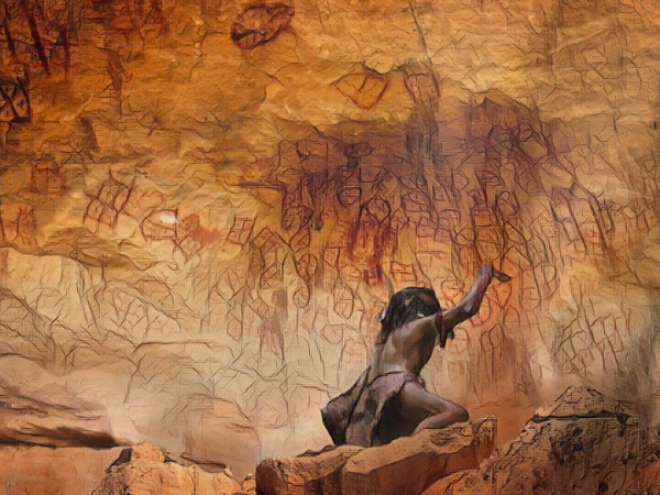 Imaginary image of drawing on aL Makhrwq Mountain walls. image courtesy of Abeer al-Baredah