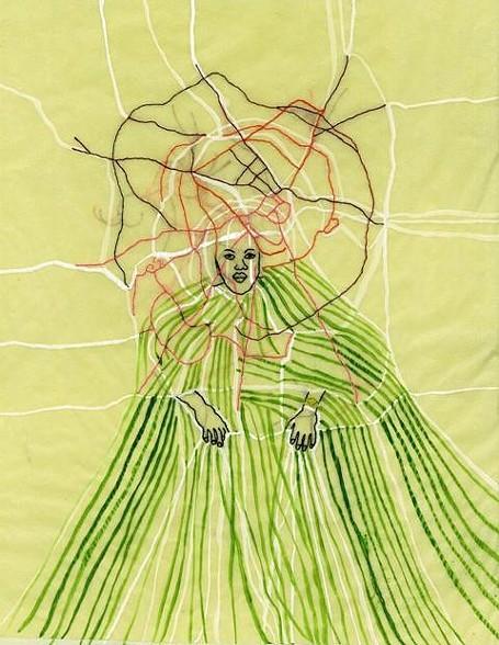 Wura-Natasha Ogunji   City of Ife Thread  , 2011  acrylic, graphite on paper  14 x 12.5 inches