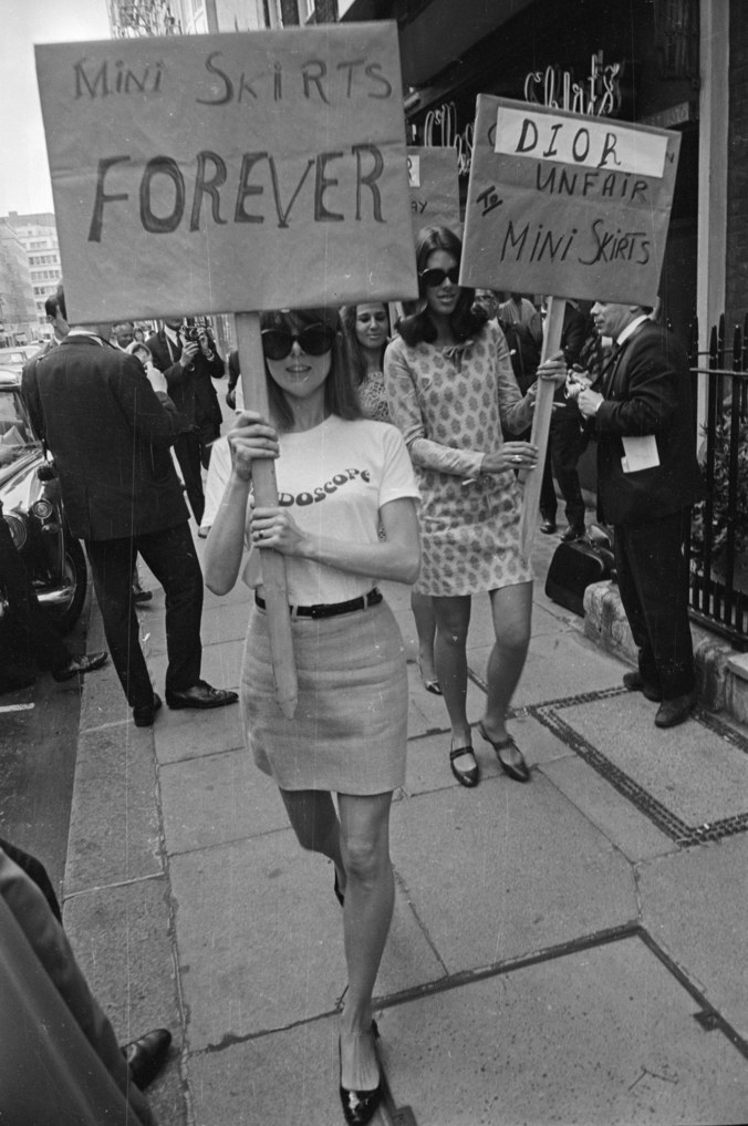 Women protesting in Great Britten, in order to protect the mini skirt, outside the House of Dior in 1966, for its 'unfair' treatment of mini skirts. By Larry Ellis