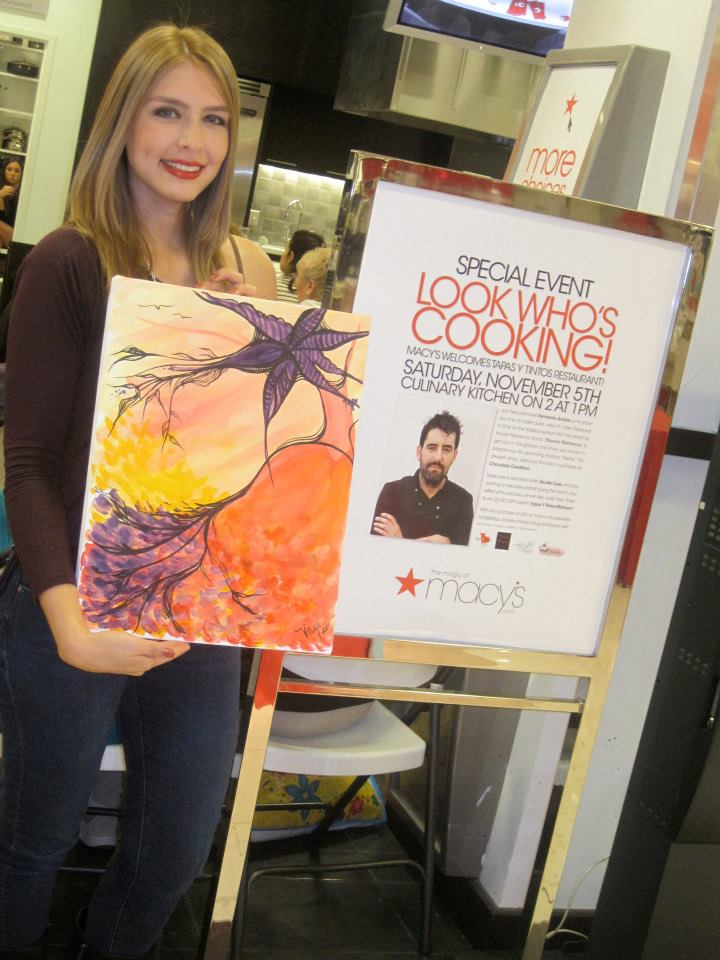 LIVE Painting + Culinary Demo at Macy's Aventura. - Nicolle created a custom piece during the event that was inspired by the Spanish culture. The painting was raffled off to one lucky winner.