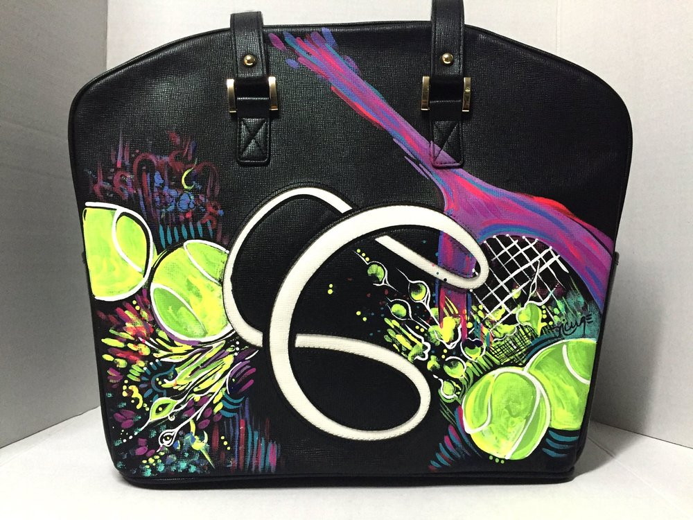 Labs 4 Rescue FundraiserThrough Cortiglia Collab - 12.01.15LA-based luxury tennis handbag brand Cortiglia selected a group of 6 international artists to create 3 custom-made designs each. These exclusive creations were commissioned for the Cortiglia Art Basel 2015 Collection. Each unique handbag was auctioned and sold in a private exhibit to support each artist's charity of choice. The proceeds of Nicolle's designs were donated to the non-profit organization Labs4Rescue.(One of the three designs created for the CORTIGLIA ART BASEL COLLECTION 2015)