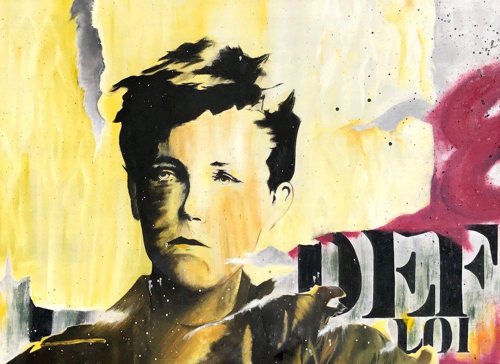 Oil on canvas rework of Arthur Rimbaud street art