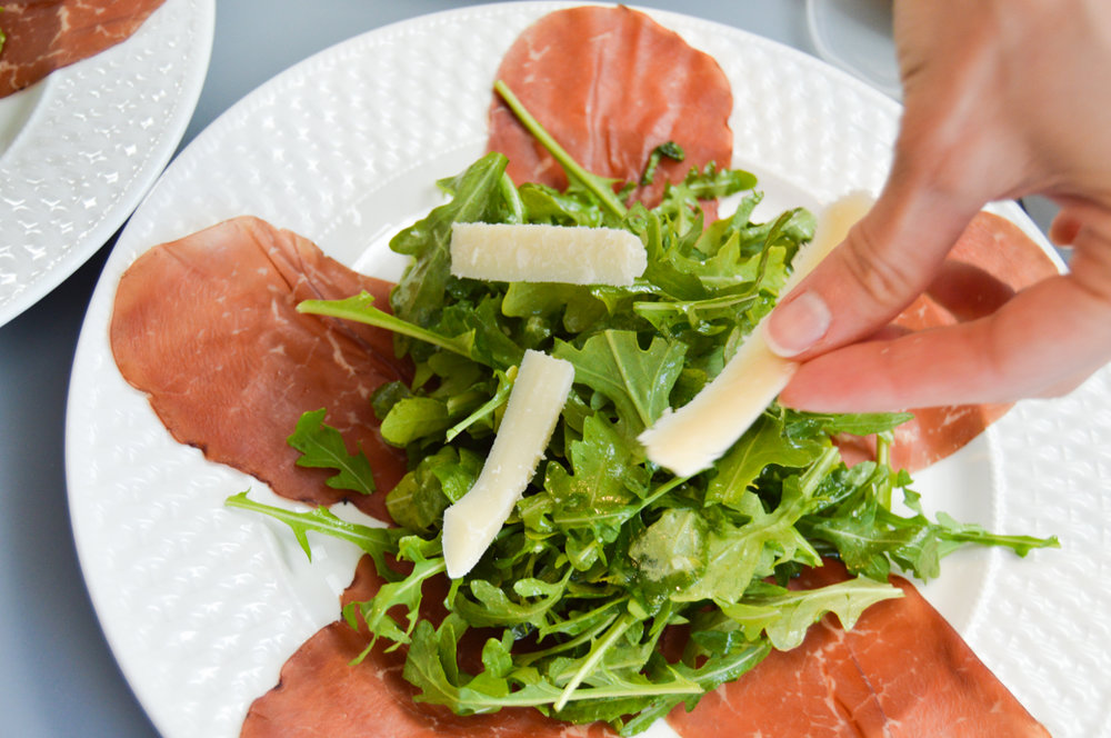 Plate bresaola with cheese