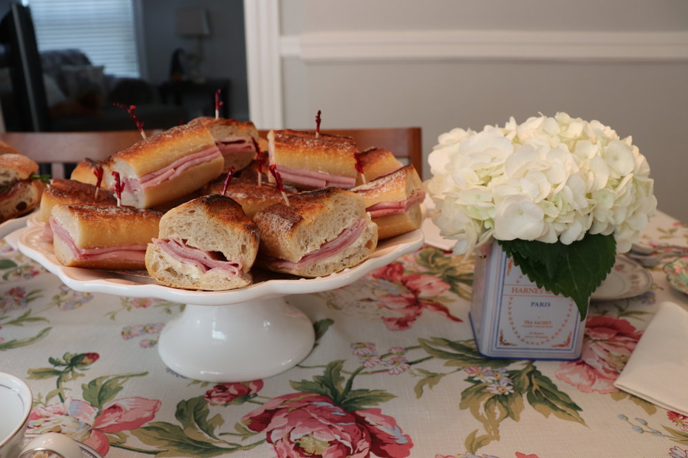 Ham and butter sandwiches