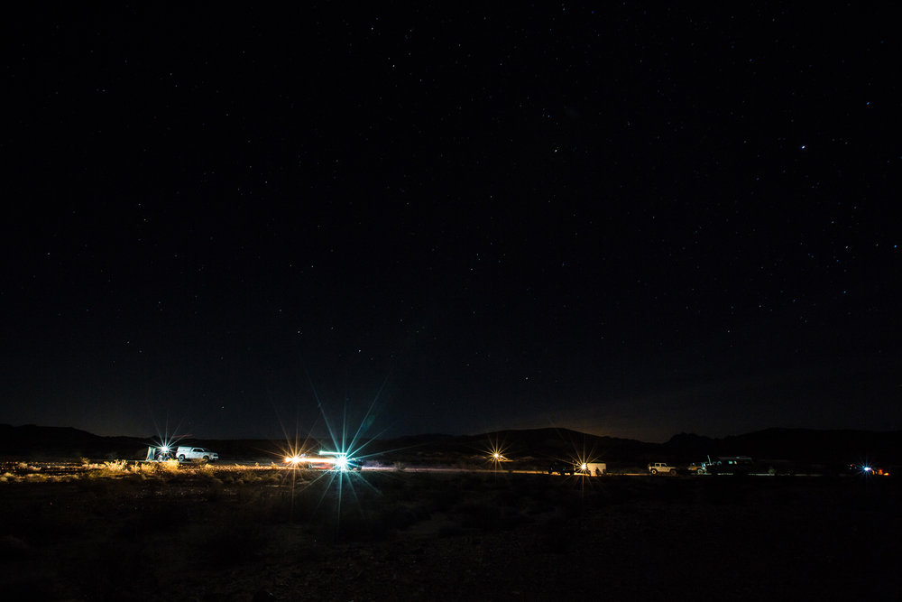 The Land Ops group campsite at night.