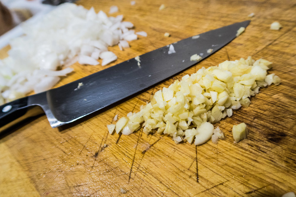 Garlic and onion coarsely chopped.