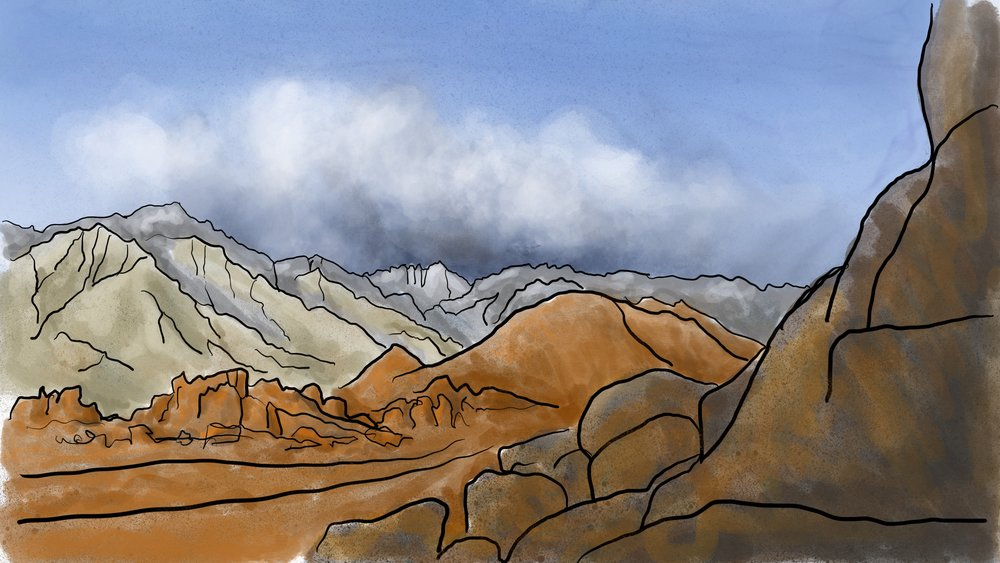 Alabama Hills Tri-Tone - my first digital painting on Procreate.