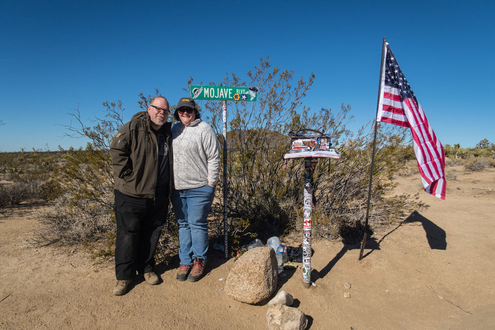 Beth and I at the Mojave Mailbox. Another group had arrived just before us and changed out the flag. Great to see people taking care of things. The Mailbox contains a guestbook that visitors are encouraged to sign.
