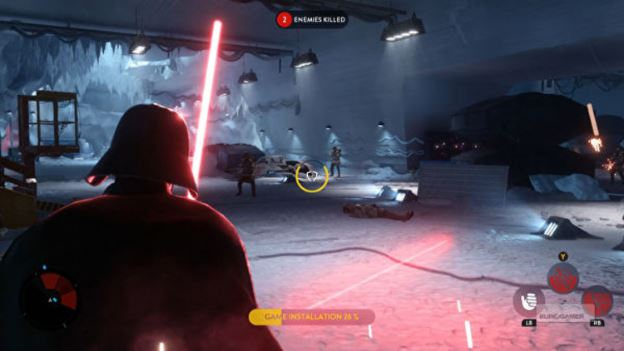 Star Wars Battlefront allows players to practice the basics and play as Darth Vader while the game installs