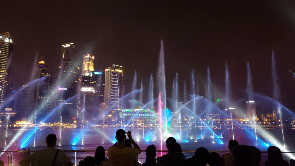 A nightly water show in Singapore