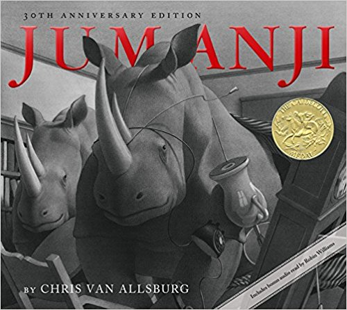 Jumanji - My boys love this book! Two children start playing a game without any idea of what they are getting themselves into. As wild animals begin appearing throughout their house, they realize the only way to return to normal is to finish the game. The illustrations in this book are gorgeous, making the story seem realistic.The anticipation that builds with each page keeps my kids hanging on through the whole book. When I ordered this book, I didn't realize that I ordered the copy that contained an audio CD. This CD has been played many times in my house.