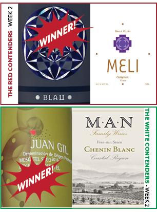 - WEEK 2:JANUARY 16-22 RED WINE CONTENDERSBlau vs. Meli CarignanWINNER: BlauWHITE WINE CONTENDERSJuan Gil Muscatel vs. M.A.N. Chenin BlancWINNER: Juan Gil Muscatel