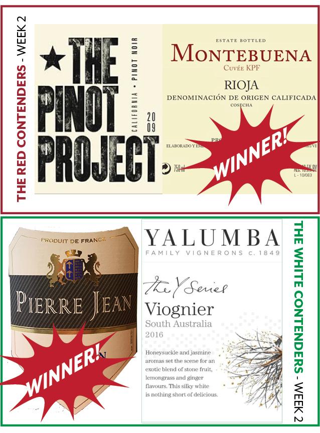 Week 2 Contenders: - WEEK 2: JANUARY 14-19RED WINE CONTENDERSThe Pinot Project Pinot Noir vs. Montebuena RiojaWINNER:Montebuena RiojaWHITE WINE CONTENDERSPierre Jean Sauvignon Blanc vs. Yalumba ViognierWINNER:Pierre Jean Sauvignon