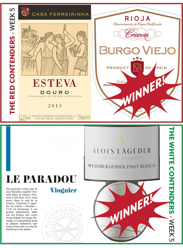 Week 5 Contenders: - WEEK 5: FEBRUARY 4-9RED WINE CONTENDERSCasa Ferreirinha Esteva Red Blend vs. Burgo Viejo CiranzaWINNER:Burgo Viejo CrianzaWHITE WINE CONTENDERSLe Paradou Viognier vs. Alois Lageder Pinot BiancoWINNER:Alois Lageder Pinot Bianco