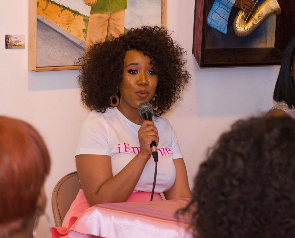 Speaking - Speaking in front of crowds gives me life! I pride myself in creating a vibe where girls of all ages are comfortable talking about life's challenges but also giving insight on how to overcome them and putting a plan to their goals.