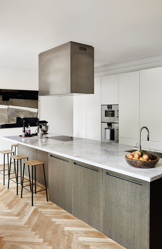 Elegant minimalist kitchen in the home of Pernille Lykke