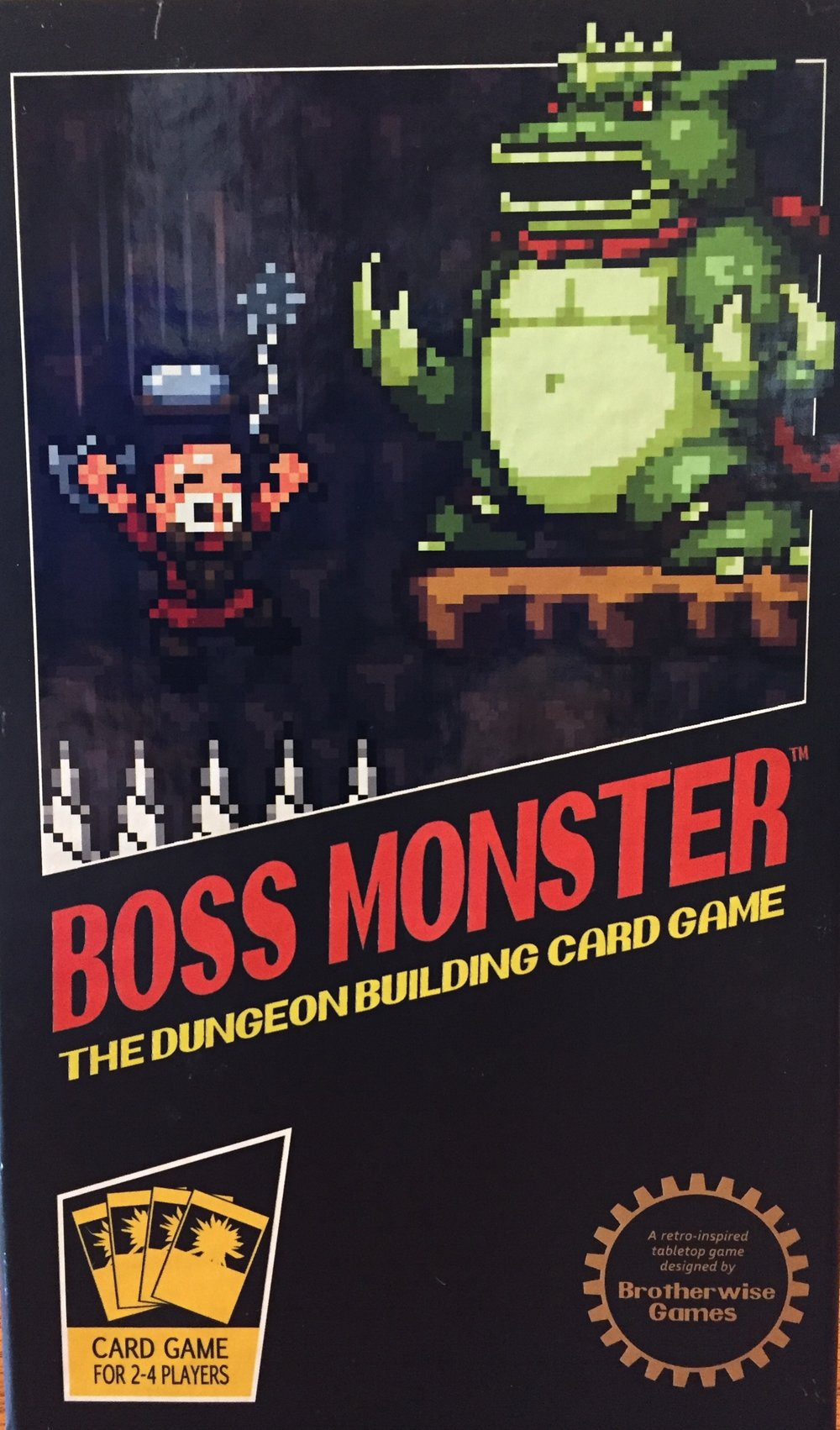 Boss Monster features fun box art clearly modeled after classic NES games, right down to the faux NES Seal of Approval in the bottom corner. Is this a board game or a video game?