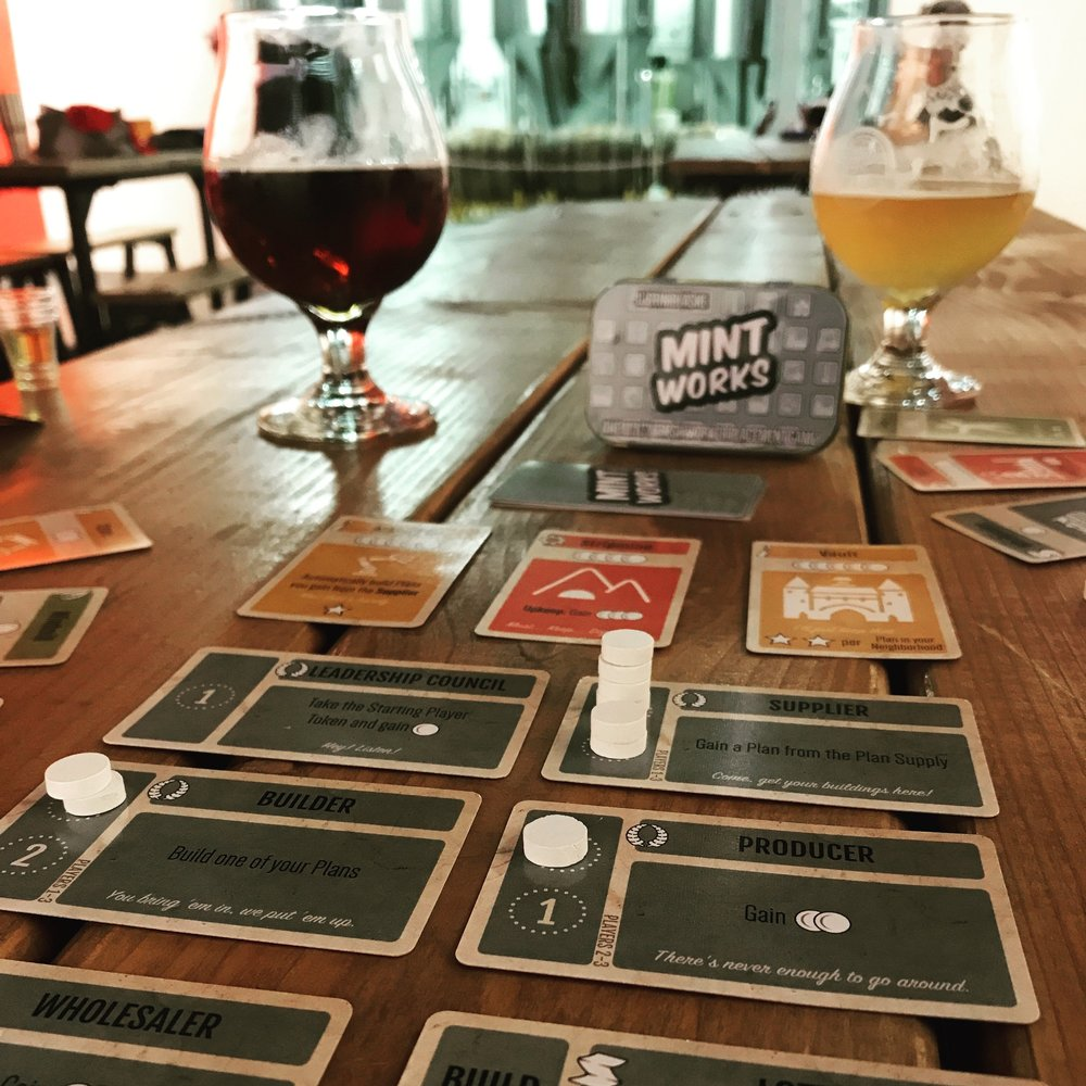 Ignore the quizzical looks of fellow patrons. Or better yet, invite them over to build a neighborhood of their own! This little game is perfect to take to your local brewery or coffee shop.