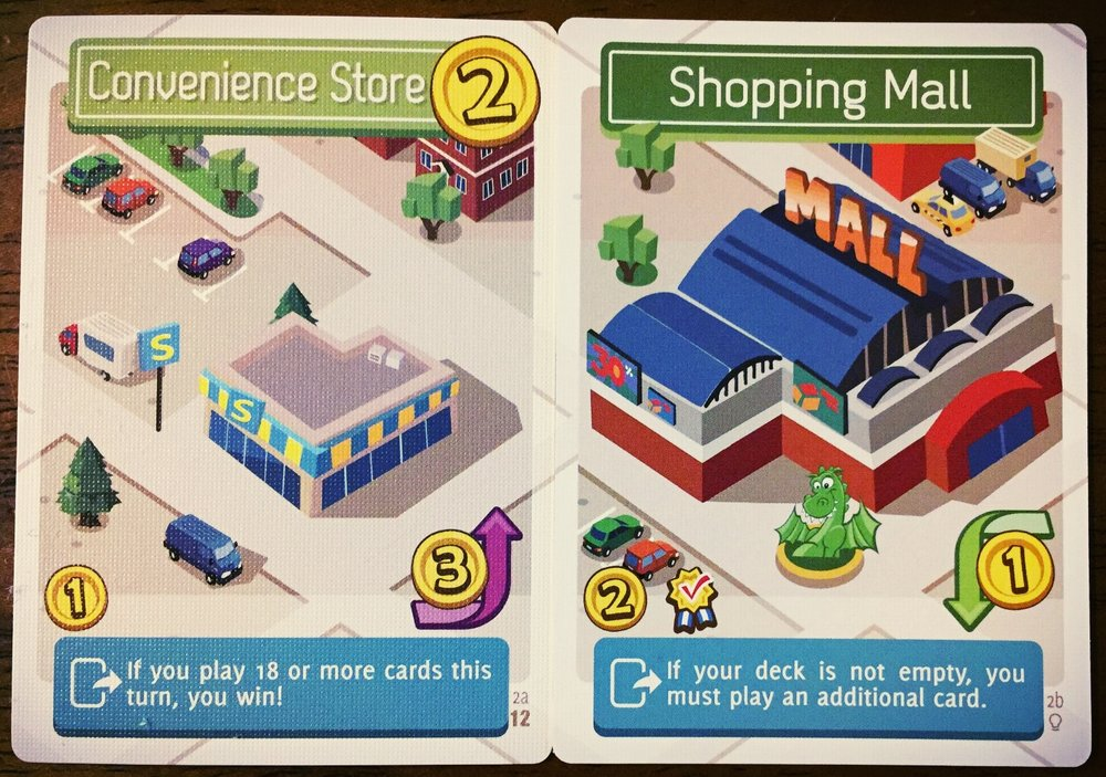 Same card. Different town amenities depending on which side is showing. Pay the 3-coin flip fee, and this handy little Convenience Store can become a full-fledged shopping mall.