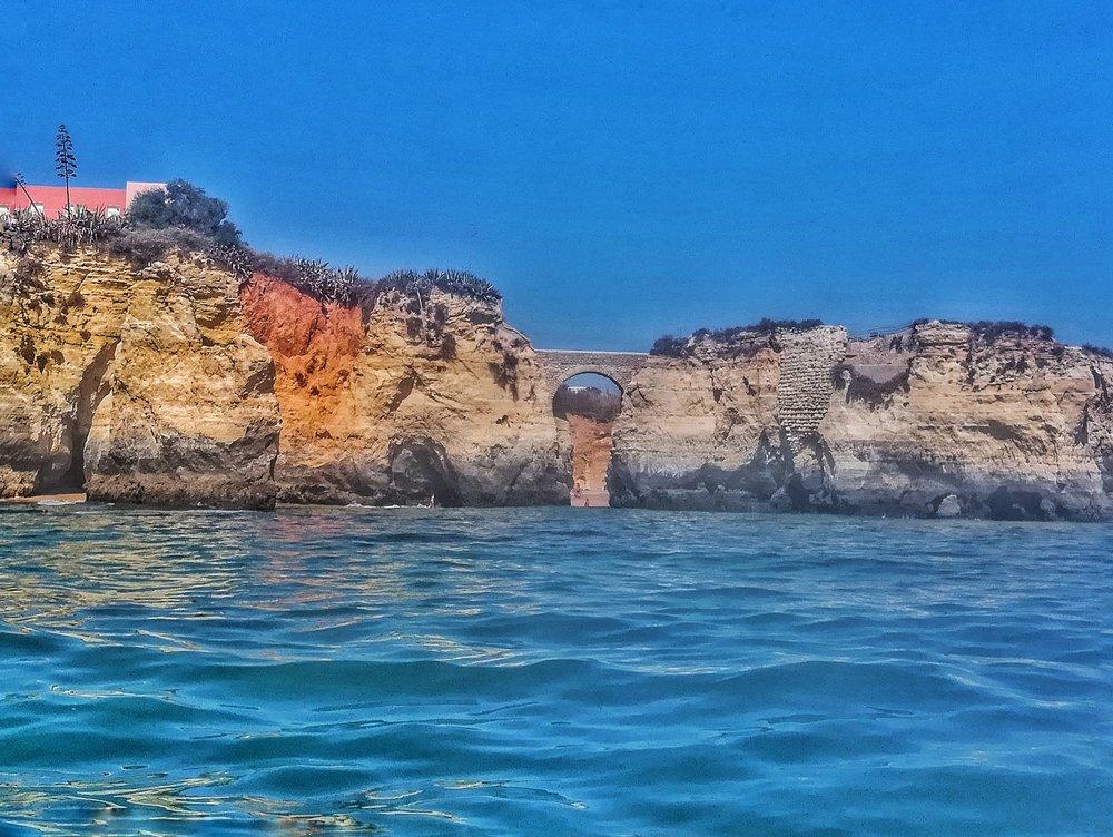 Kayaking n Lagos and saw a bridge between two limestone cliffs