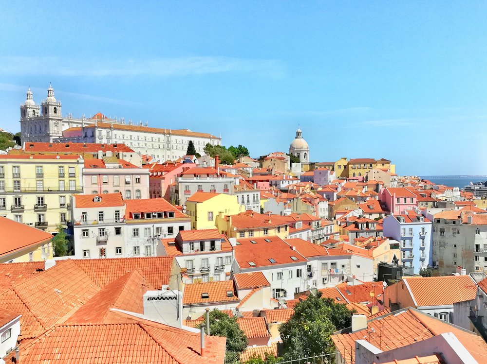 Gorgeous view. The coloured buildings aren't painted, they're tiled! The types of patterns you'll see below