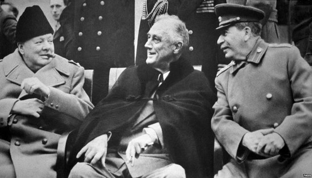 Churchill, Roosevelt and Stalin met together for the last time at Yalta, 1945