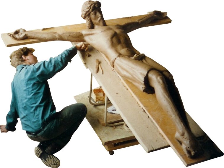 Working on the Auburn Crucifix, Tom Bass Sculpture School, 1996