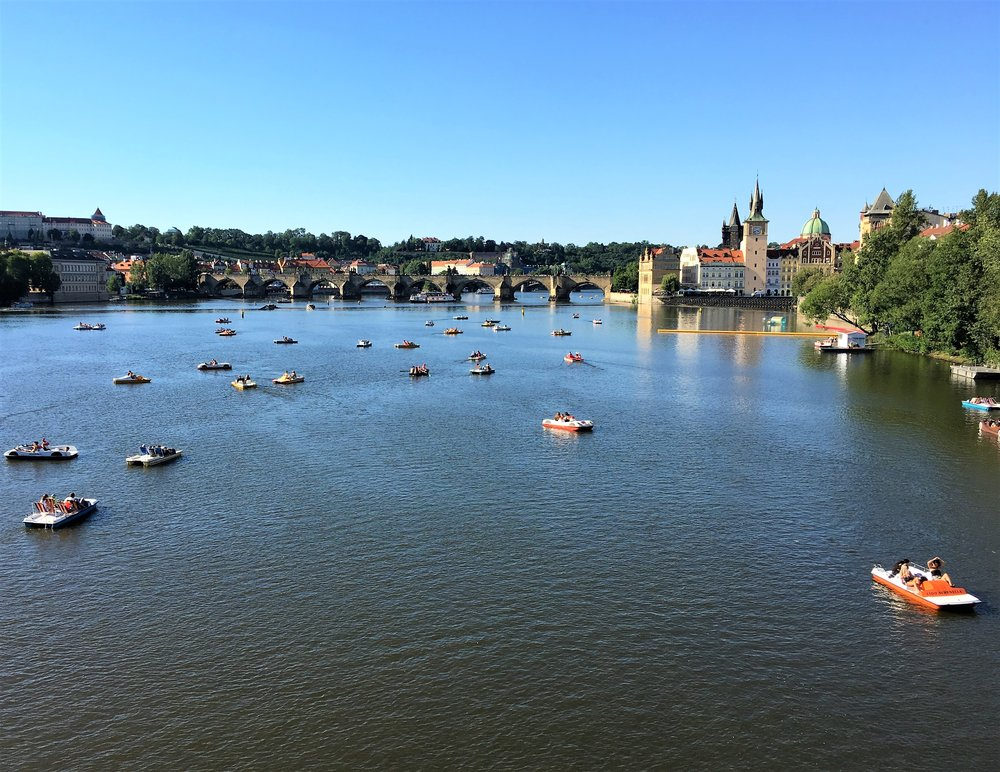 View of the  Vltava River  from the  Charles Bridge