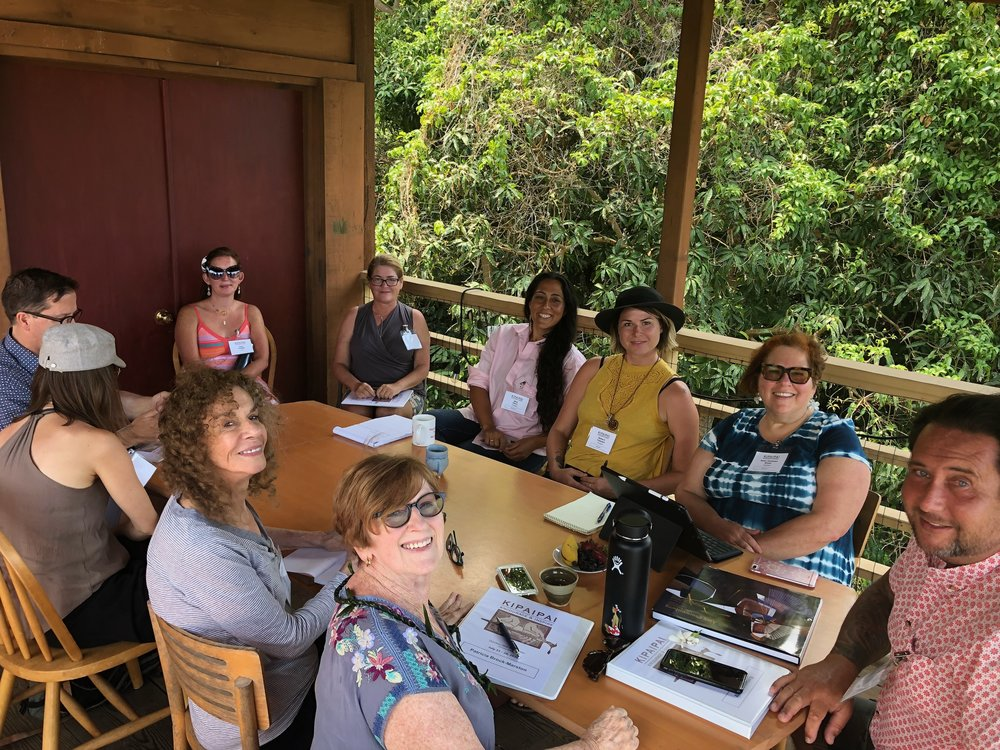 Kipaipai attendees and faculty gather on the deck at Donkey Mill Art Center to learn about Alex Couwenberg's career and how he builds genuine professional relationships.