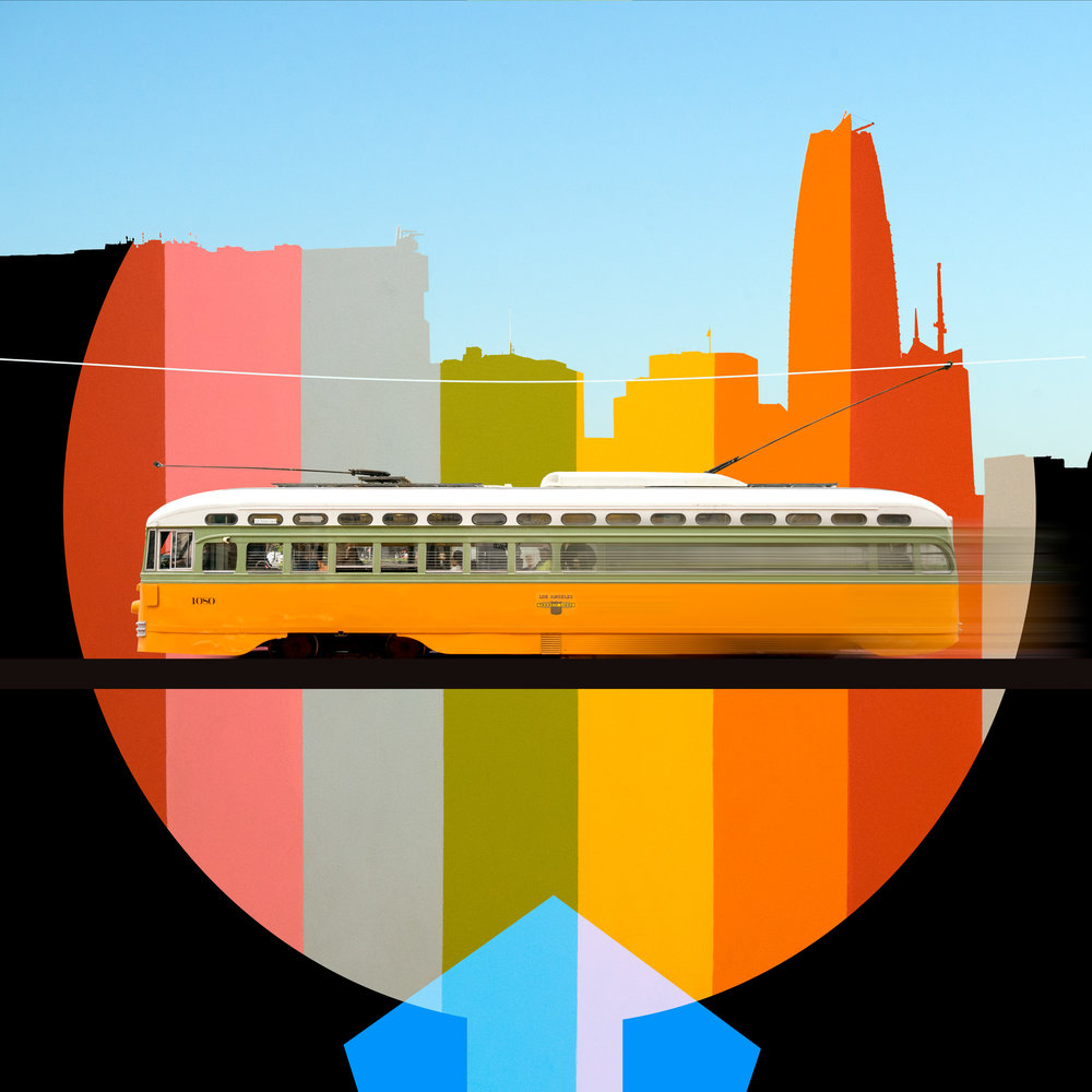 """Los Angeles Transit Lines No.1080 Built 1946   Photograph on Paper on board  by Mike Sanchez  Size: 30 x 30""""   $2,500.00"""