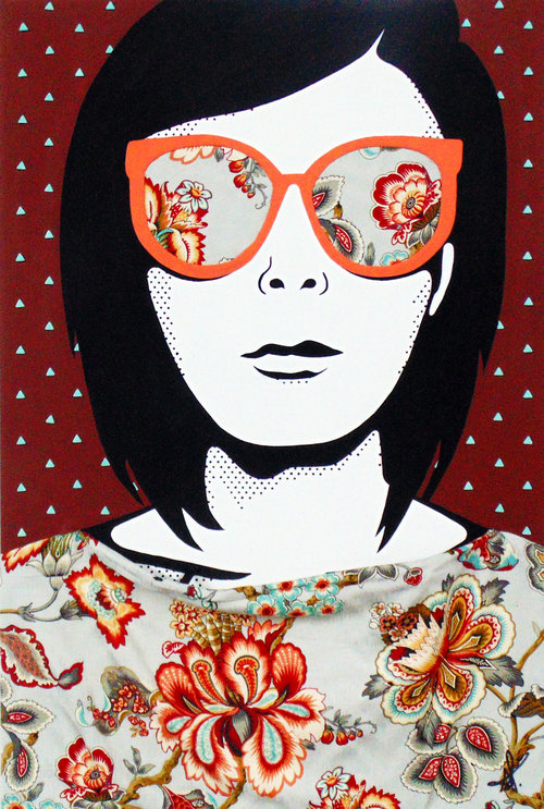 """Self #5   Mixed-media painting on Canvas  by Dani Arrecis  Size: 24 x 36""""   $1,450.00"""