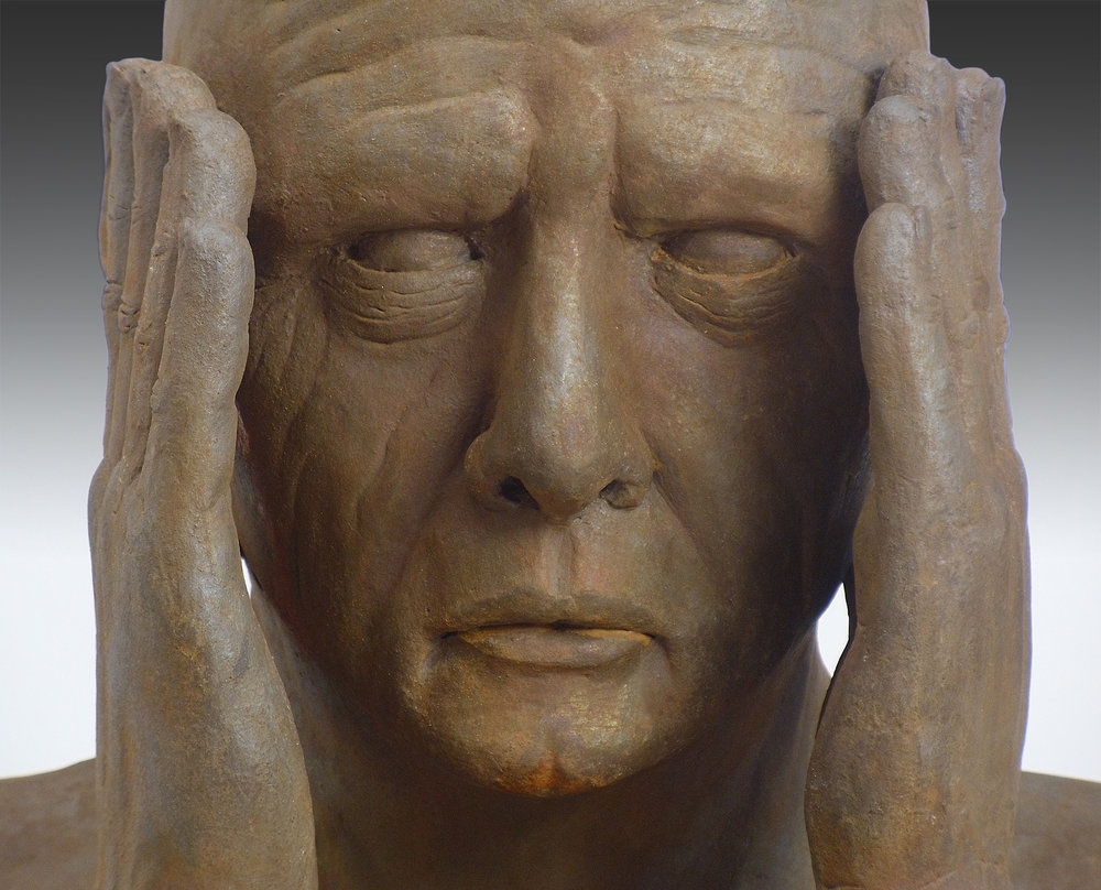 """Man with Hands by Face   Clay sculpture  by Dan Woodard  Size: 20 x 17""""   $2,500.00"""