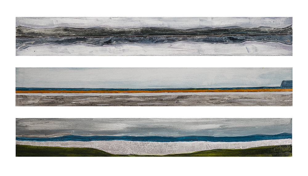 "Trio of Landscapes   Mixed-media painting on Paper on board  by Elizabeth Sher  Size: 28 x 20""    $2,200.00"