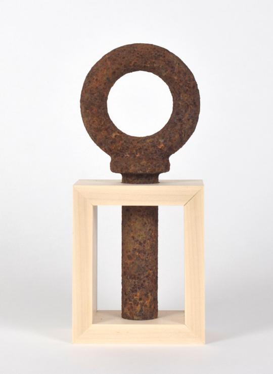 "Ankh   Dan Lythcott-Haims  Found rusted steel and custom-made maple frame  12"" x 5"" x 3""    $500"