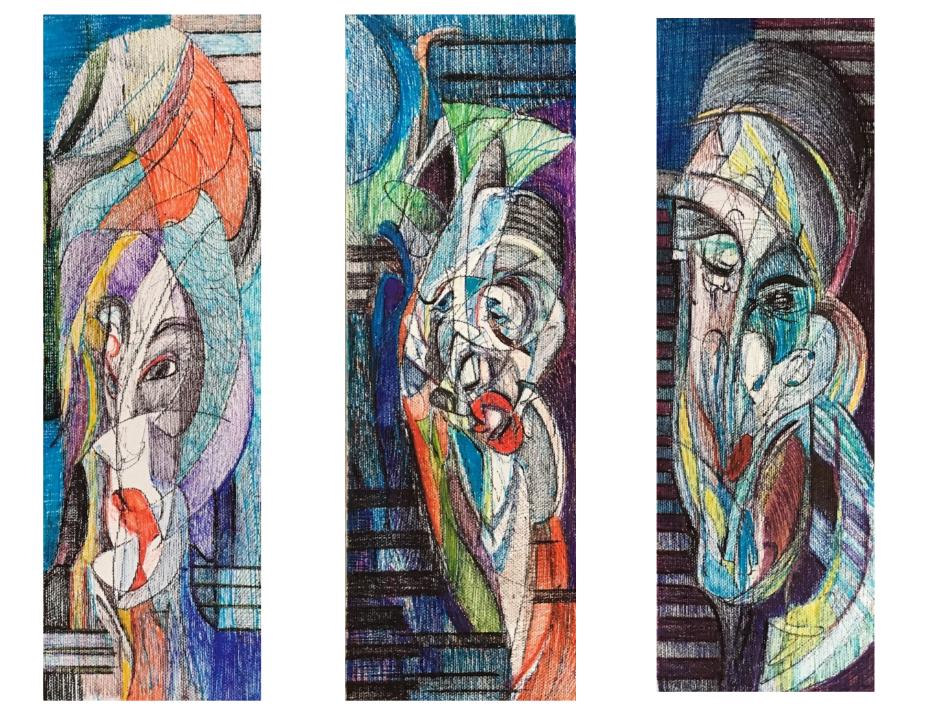 """Twist Tryptic"" by    Marjaneh Afkhami,    12"" x 4"", Felt pen on Canvas"