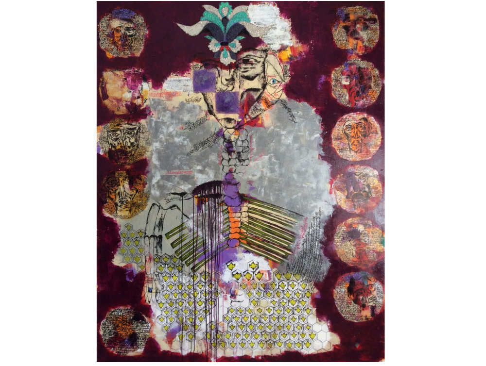 """""""My Brides""""  by  Yasaman Moradi , 36"""" x 48"""", Mixed Media Acrylic, Gems"""