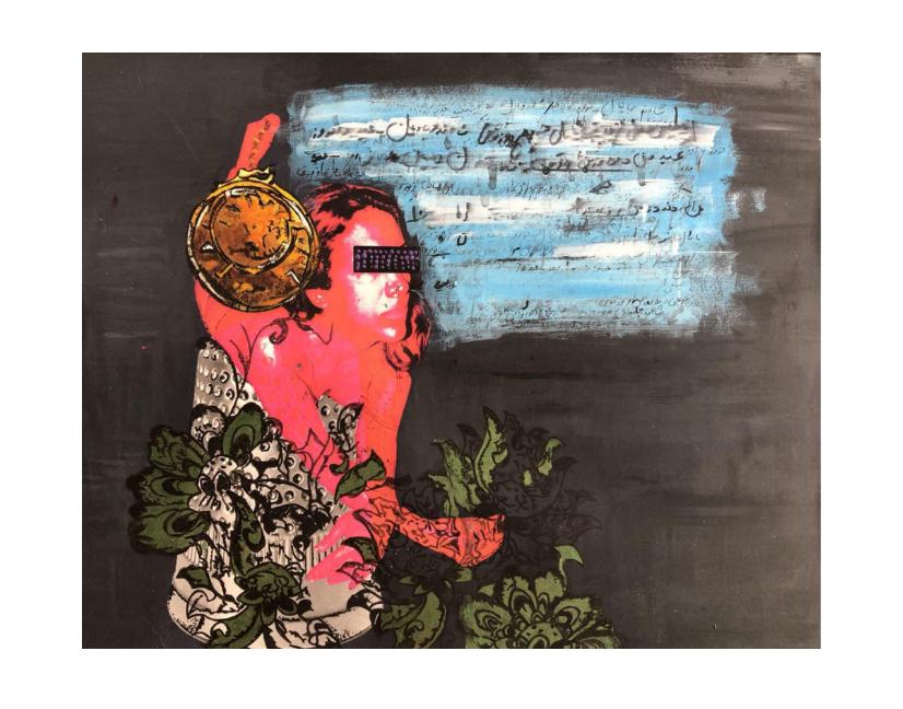 """My Inner Roumi Series"" by    Yasaman Moradi   , 18"" x 20"", Mixed Media, Photograph and Acrylic"