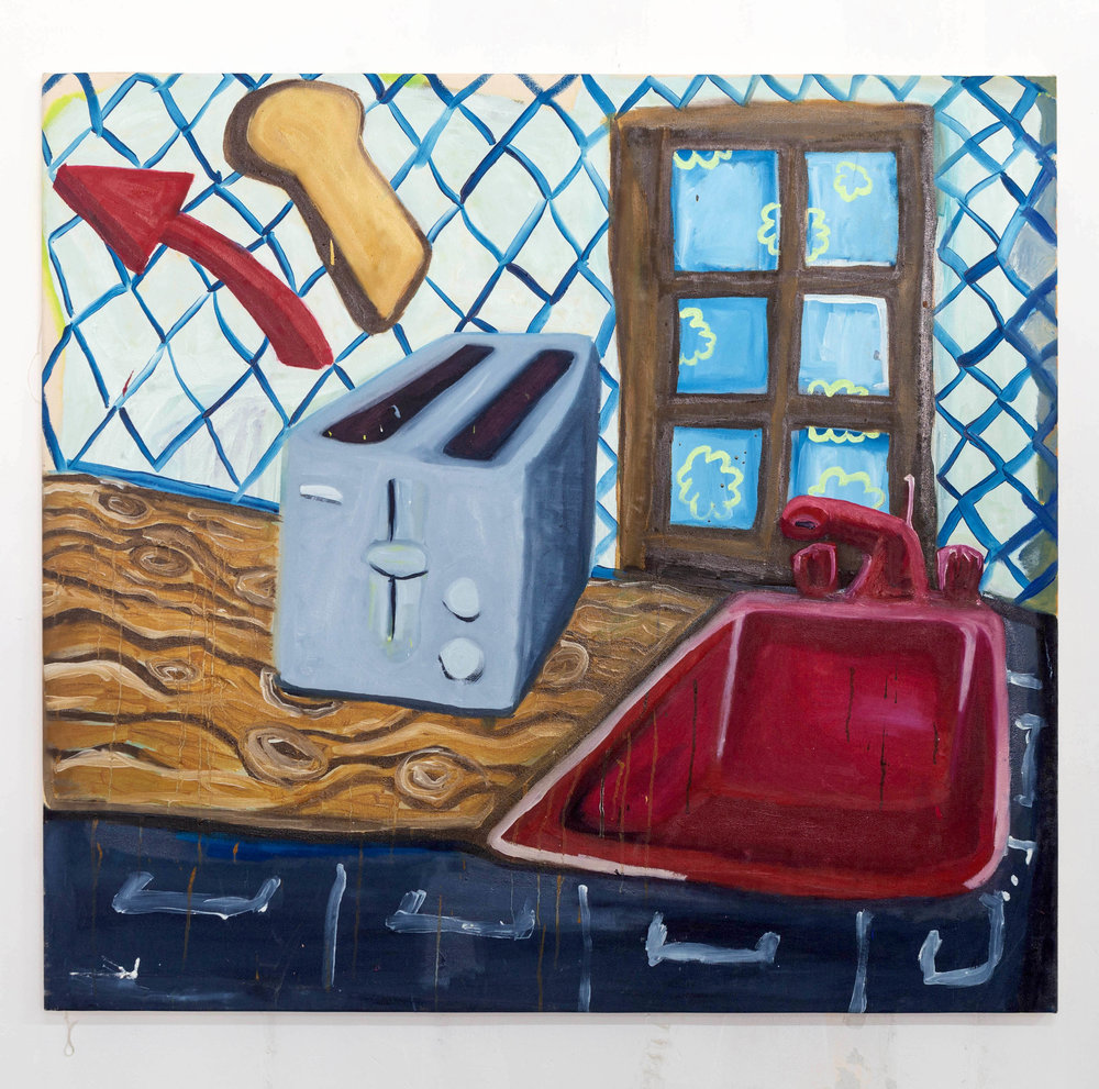 """Before the Schoolbus Comes   Oil painting on Canvas  by  Aaron Salm   Size: 51 x 47""""    $2,000.00"""