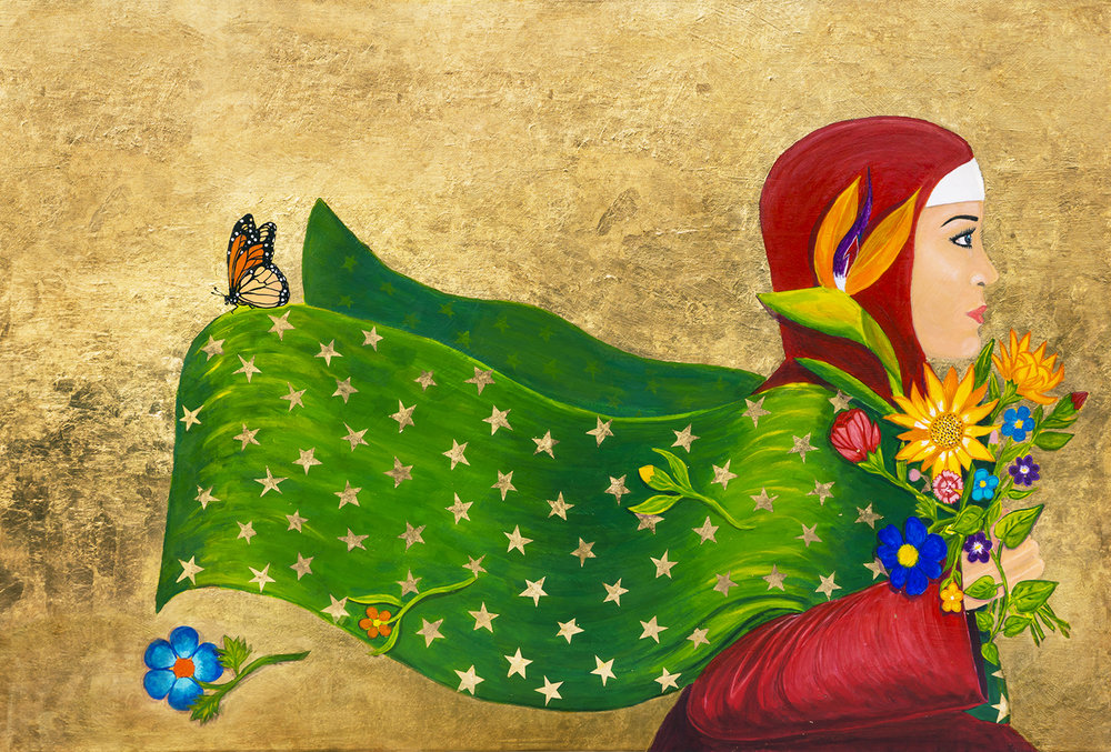 """The Florist   Acrylic painting on Fabric  by   Belen Islas    Size: 37 x 25""""   $3,495.00"""