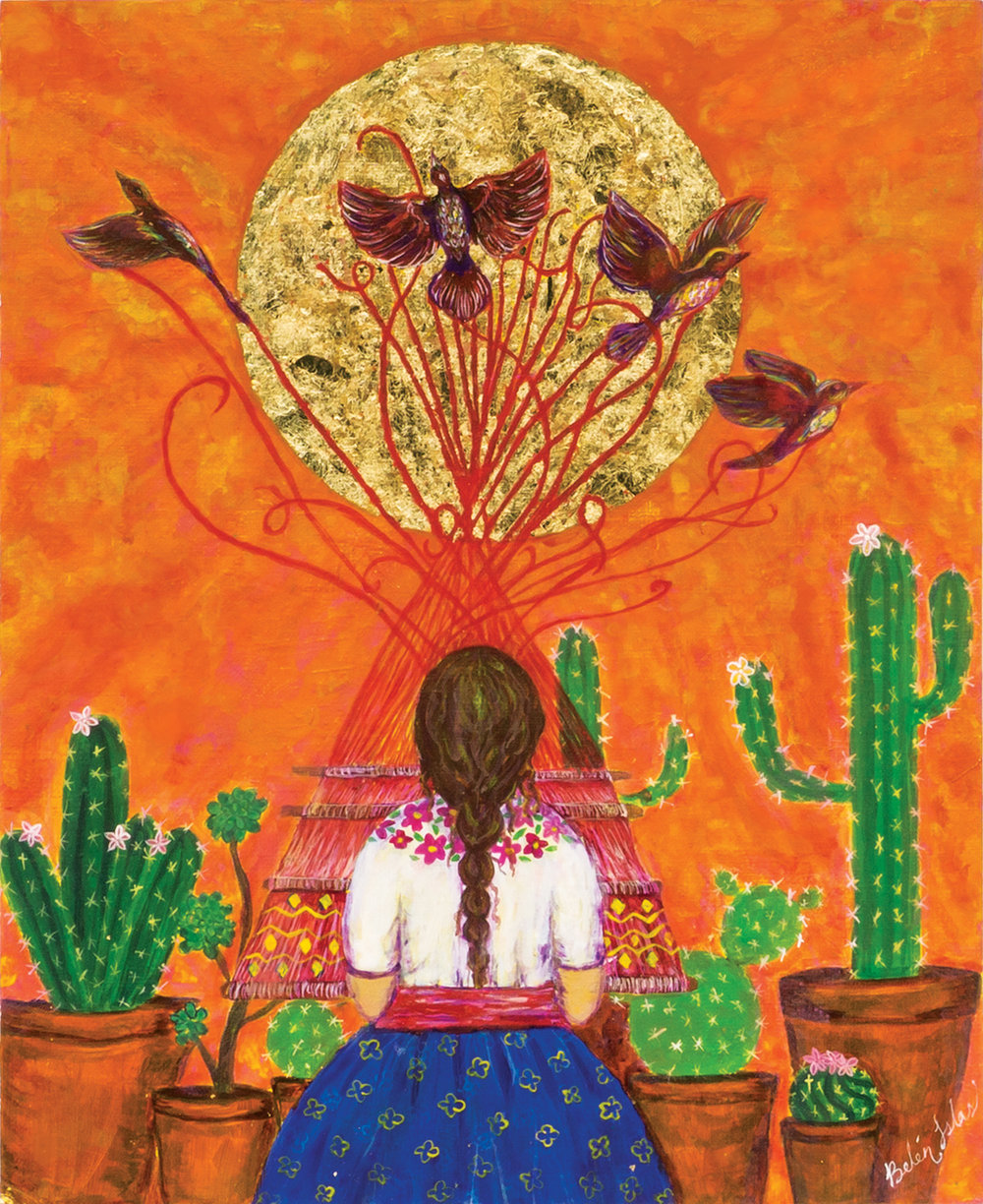 """The Weaver   Acrylic painting on Panel / Board / MDF  by  Belen Islas   Size: 9 x 11""""    $750.00"""